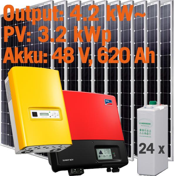 Solar Inselanlage AC 4kW / 3.200Wp / 620Ah