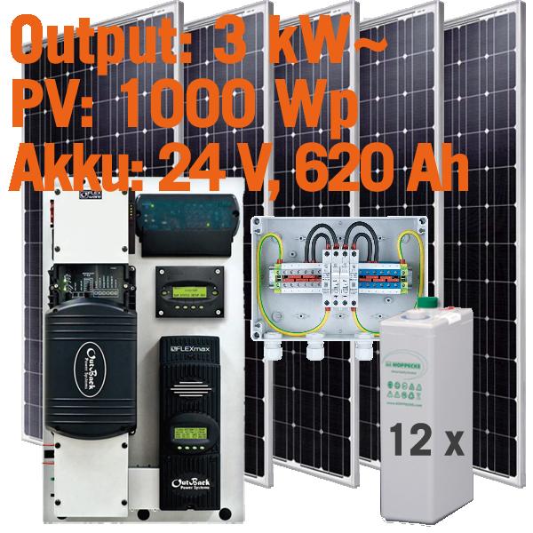Solar Inselanlage AC 3kW / 1.000Wp / 620Ah