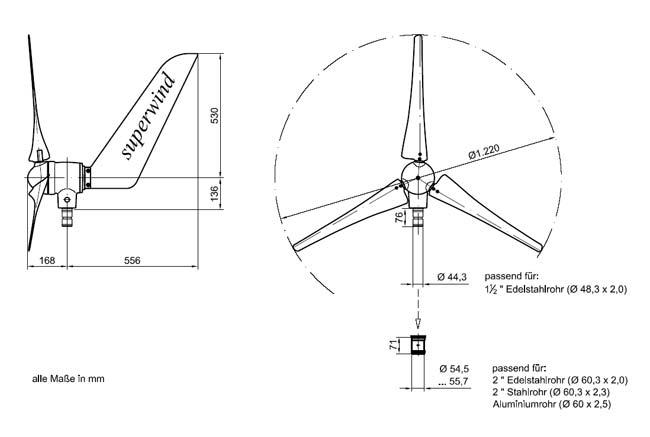 Superwind SW 350 Silent Power Windgenerator 24V