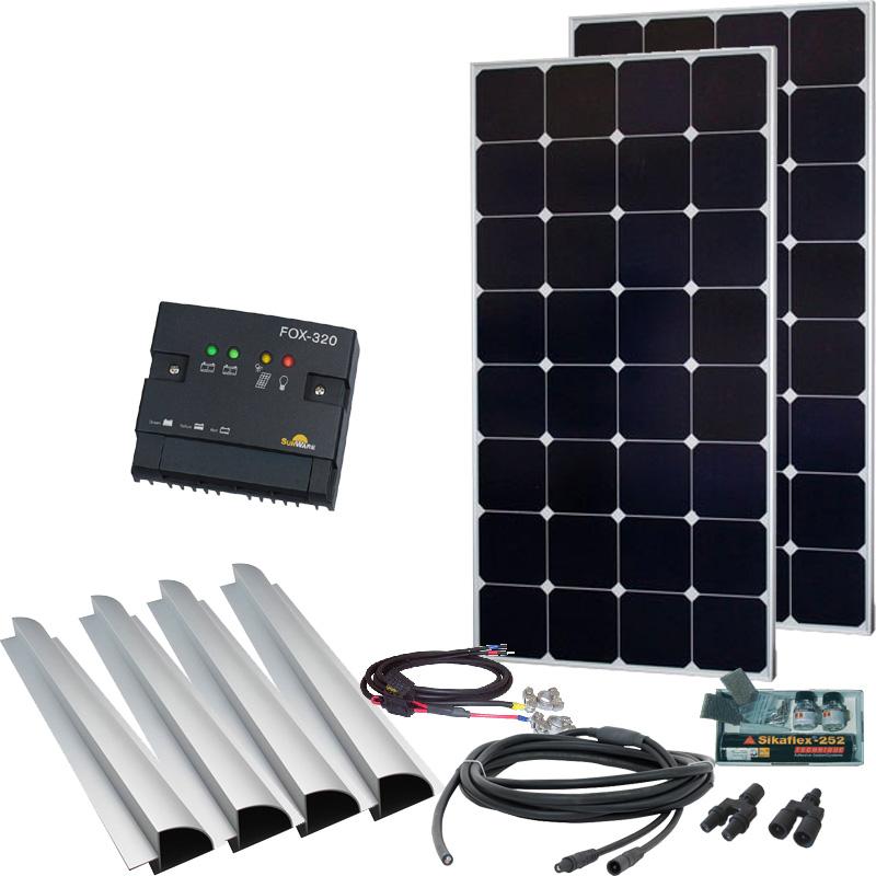 Caravan Solaranlage 12V, 200Wp mit Spoiler, silber