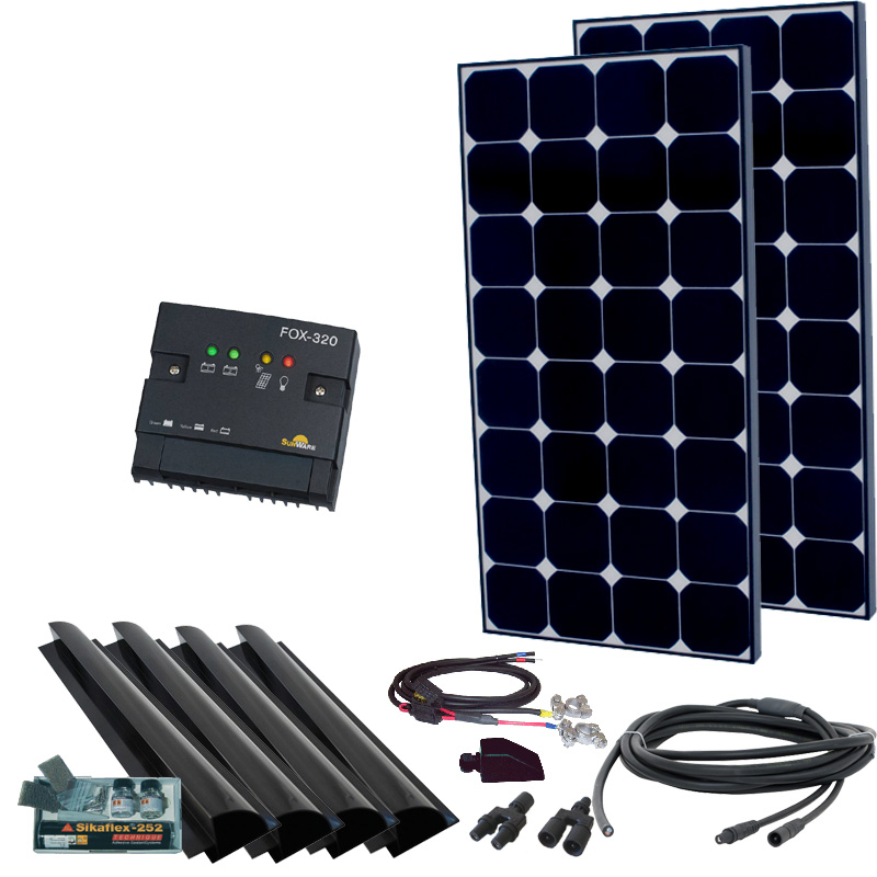 Caravan Solaranlage 12V, 200Wp mit Spoiler, schwarz