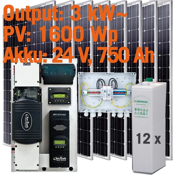 Solar Inselanlage AC 3kW / 1.600Wp / 750Ah