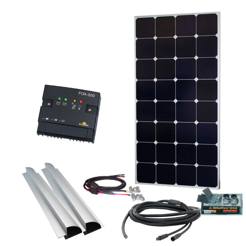 Caravan Solaranlage 12V, 100Wp mit Spoiler, silber