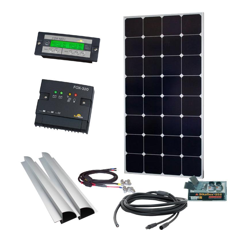 Caravan Solaranlage 12V, 100Wp mit Fernanzeige