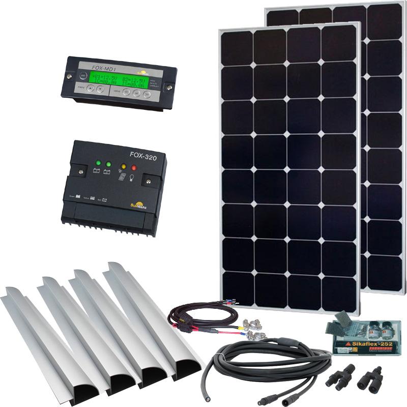 Caravan Solaranlage 12V, 200Wp mit Fernanzeige