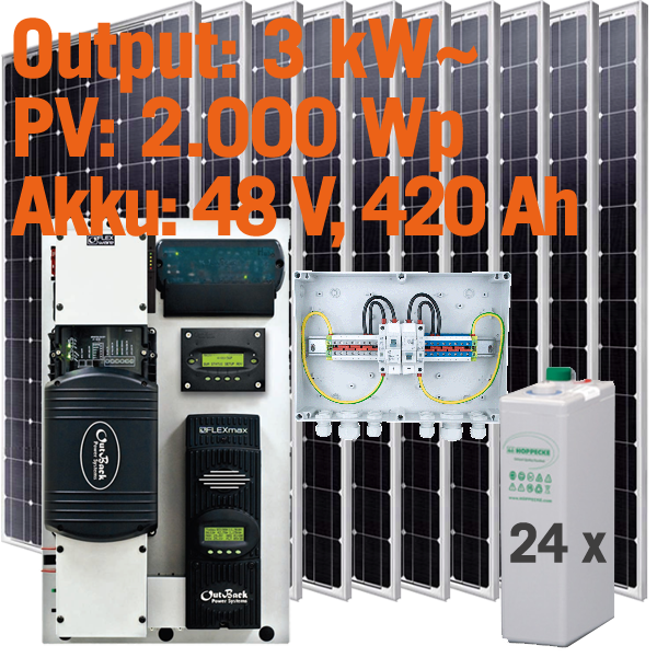 Solar Inselanlage AC 3kW / 2.000Wp / 420Ah